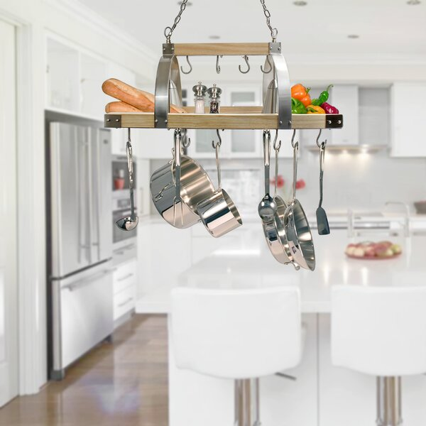 2 Light Kitchen Wood Pot Rack by 17 Stories