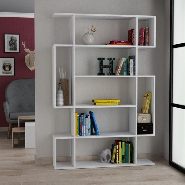 Compare Price Callum Modern Geometric Bookcase