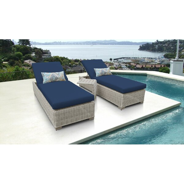 Claire Reclining Chaise Lounge with Cushion and Table (Set of 2) by Rosecliff Heights