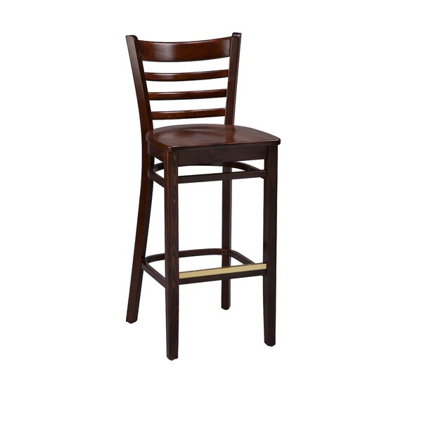 Amoroso Beechwood Ladder Back Wood Seat Bar Stool by Red Barrel Studio