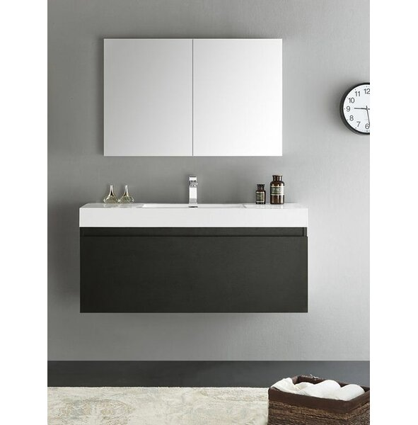 Senza 48 Mezzo Single Wall Mounted Modern Bathroom Vanity Set with Mirror by Fresca