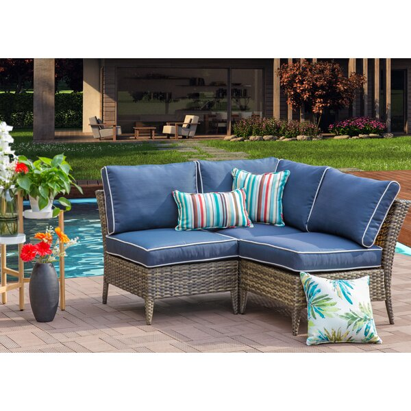 Solihull Outdoor 3 Piece Rattan Sectional Seating Group with Cushions by Highland Dunes