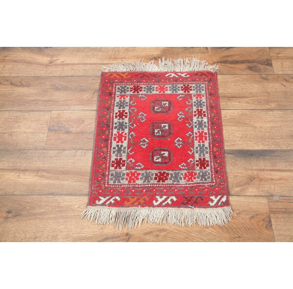 One-of-a-Kind Putnam Afghan Oriental Hand-Woven Wool Red Area Rug by World Menagerie