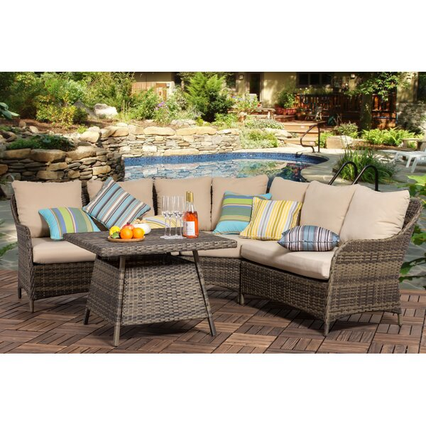 Gibbs Outdoor 4 Piece Rattan Sectional Seating Group with Cushions (Set of 2) by Bayou Breeze