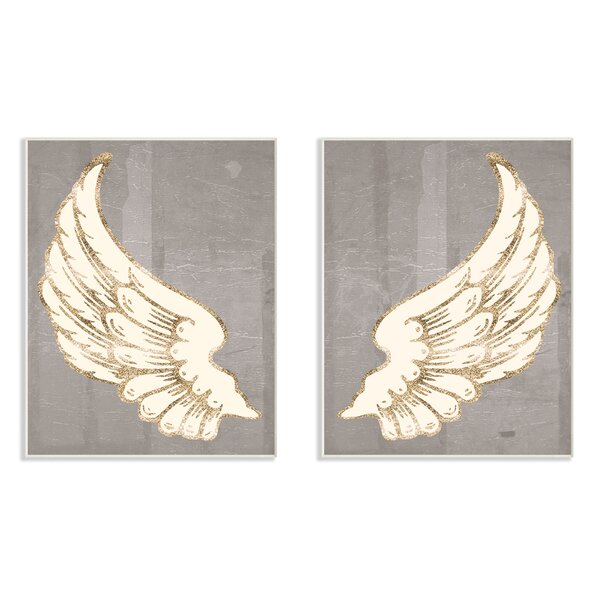 Modern Baroque Angel Wings Dark Gray 2-Piece Wall Plaque Art Set by Stupell Industries