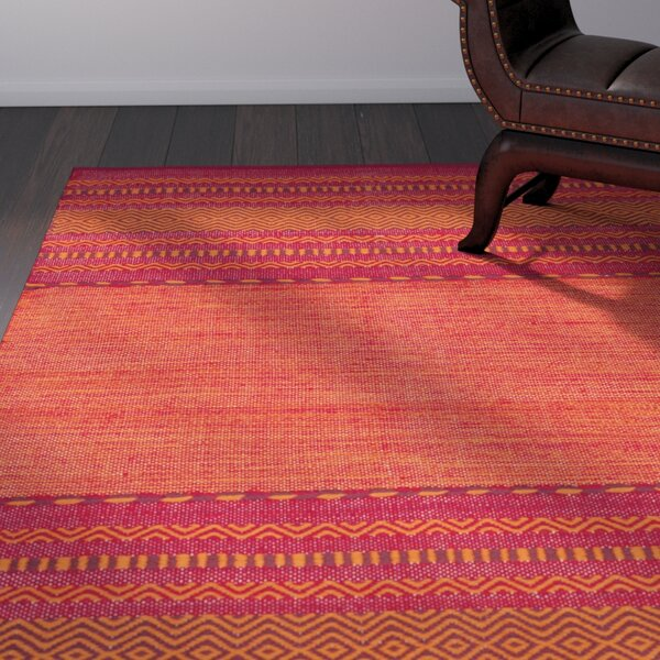 Bokard Hand-Woven Orange/Fuchsia Pink Area Rug by World Menagerie