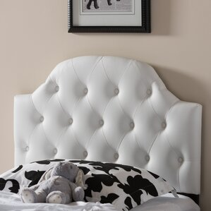 Baxton Studio Morris White Scalloped Queen Upholstered Panel Headboard by Wholesale Interiors