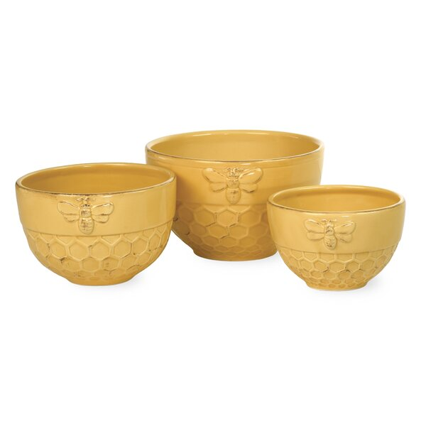 Honeycomb 3 Piece Ceramic Nesting Bowl Set by Boston International