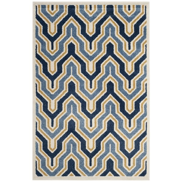Seto Blue/Gold Indoor/Outdoor Area Rug by Wrought Studio