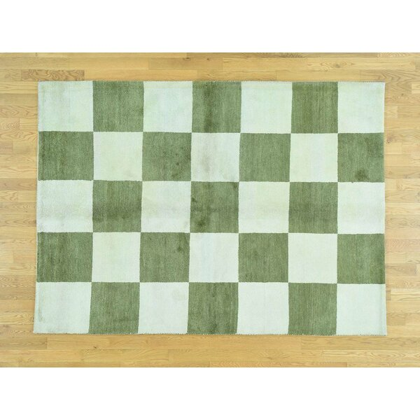One-of-a-Kind Becker Light Handwoven Green Wool Area Rug by Isabelline