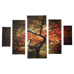 'Japanese' Framed 5 Piece Photo Graphic Print Set on Canvas by World Menagerie