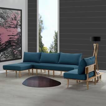 Wojtala Mid-Century Modern 4 Piece Living Room Set