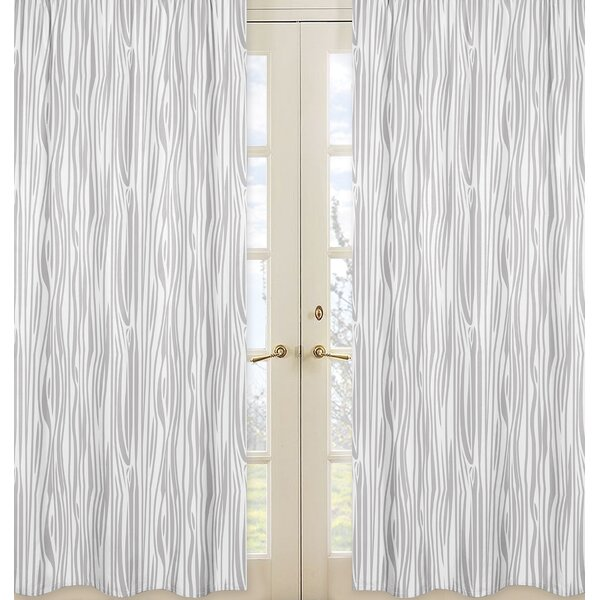 Woodland Animals Print Sheer Rod pocket Curtain Panels (Set of 2) by Sweet Jojo Designs