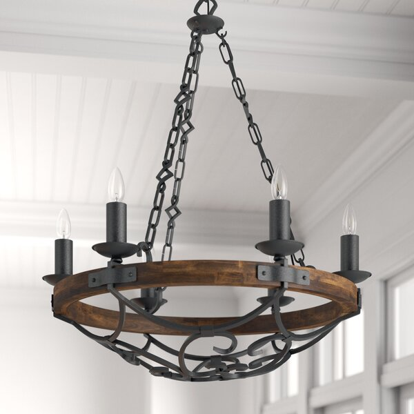 Bacchus 6-Light Candle Style Wagon Wheel Chandelier By Three Posts