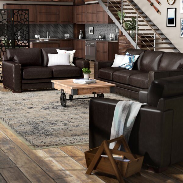 Best #1 Neil Leather 2 Piece Living Room Set By Trent Austin Design Great Reviews