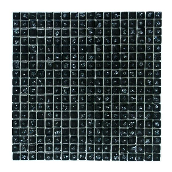 Ice Age 1 x 1 Glass Mosaic Tile in Black Ice by Abolos