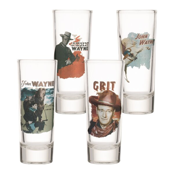 John Wayne Laser Decal Tall 4 Piece Glass Shooter Set by Vandor LLC