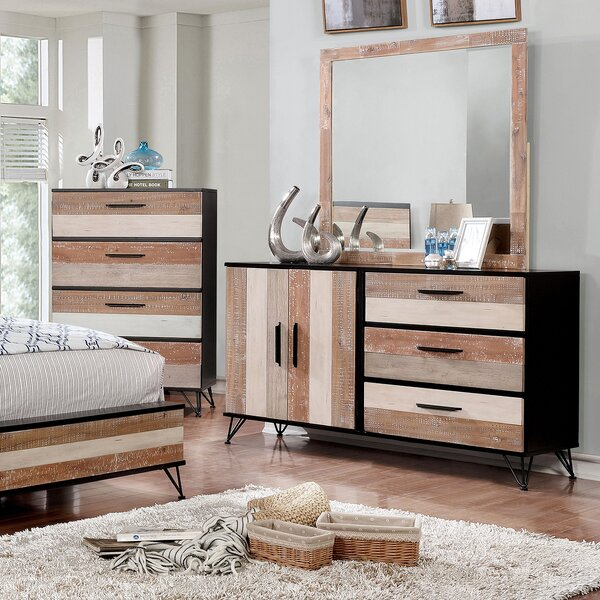 Livingston 3 Drawer Combo Dresser with Mirror by Enitial Lab