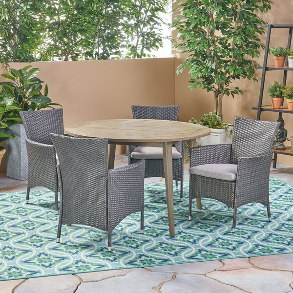 Maas Outdoor 5 Piece Dining Set with Cushions by Bungalow Rose