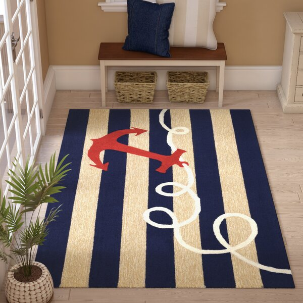Berau Anchor Hand-Tufted Navy Blue Indoor/Outdoor Area Rug by Breakwater Bay