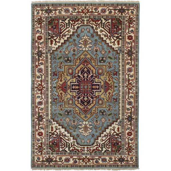 Lenita Hand-Knotted Wool Light Blue Area Rug by Bloomsbury Market