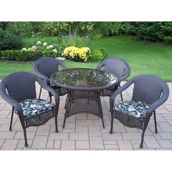 Elite Resin Wicker 5 Piece Dining Set with Cushions by Oakland Living
