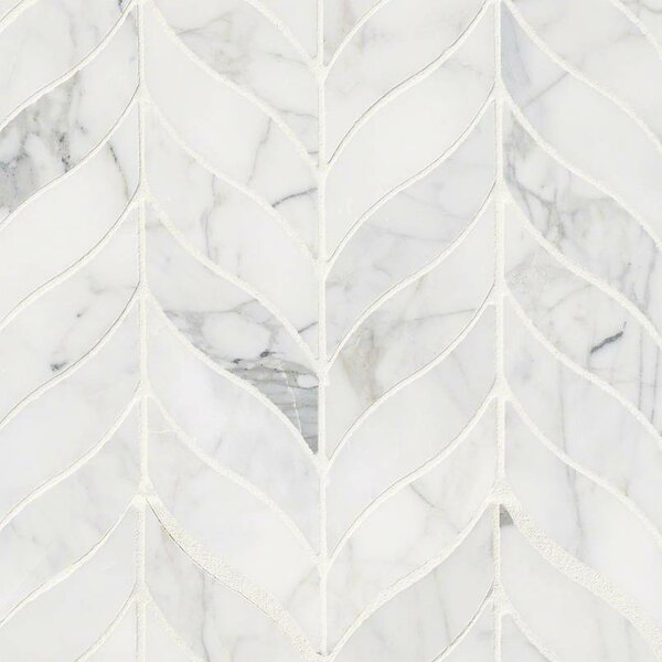 Calacatta Cressa Leaf Pattern Honed Marble Mosaic Tile in White by MSI