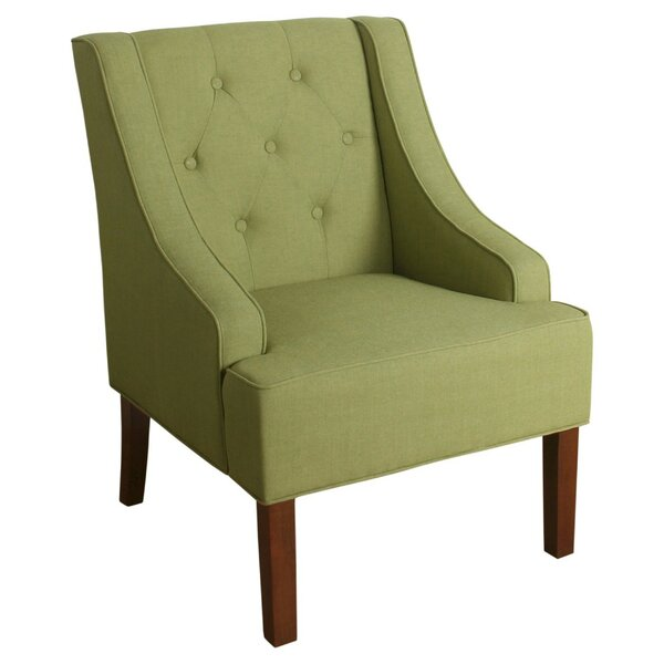 Palmerston Button Tufted Swoop Arm Wooden Side Chair by Charlton Home