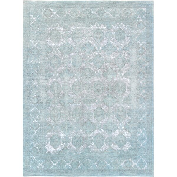 Hand-Knotted Wool Turquoise Area Rug by Pasargad