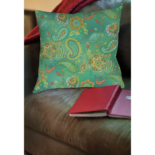 Aqua Bloom Paisley Printed Throw Pillow by Manual Woodworkers & Weavers