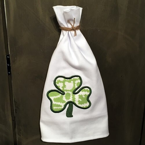 Huck Holiday Applique Shamrock Egyptian-Quality Cotton Hand Towel by Samantha Grace Designs