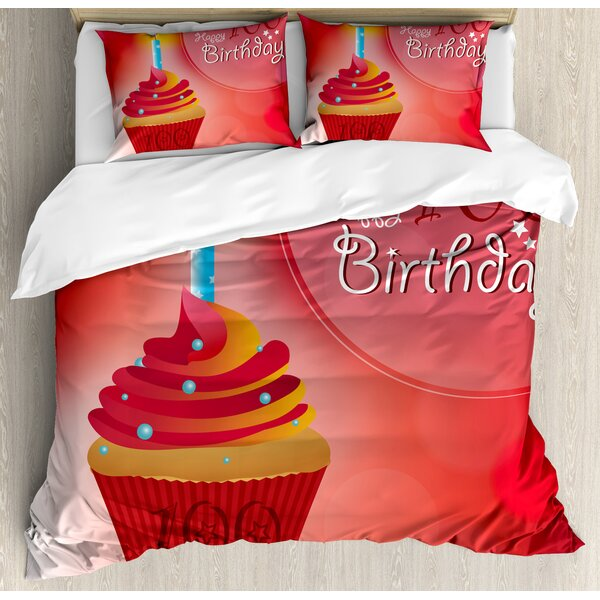 100th Birthday Decorations Duvet Set by Ambesonne