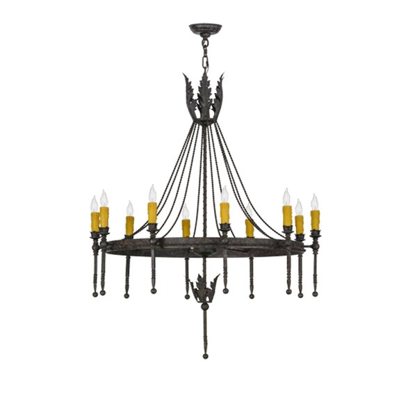 Alek 10 - Light Candle Style Wagon Wheel Chandelier By Fleur De Lis Living