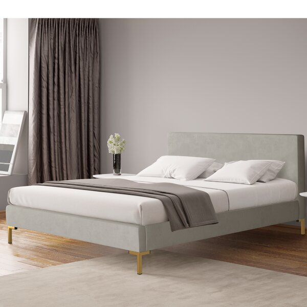 Chickerell Velvet Upholstered Platform Bed by Modern Rustic Interiors