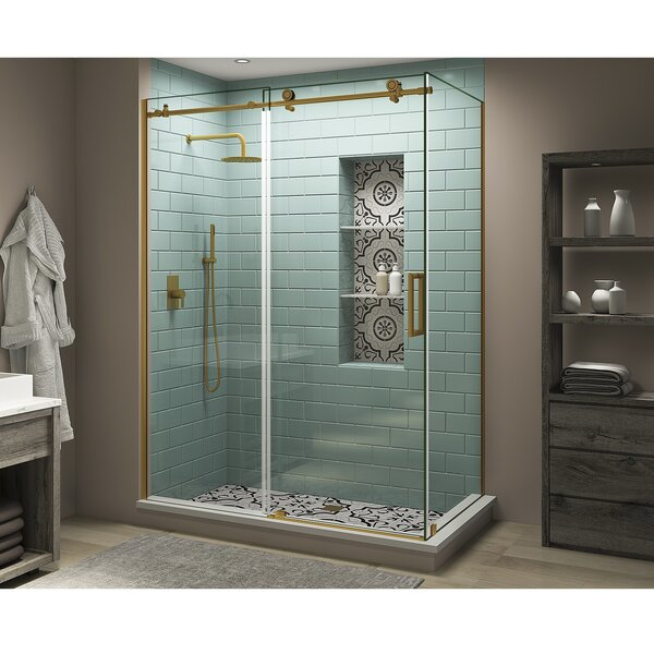 Coraline XL 72 W x 80 H Frameless Rectangle Sliding Shower Enclosure with Fixed Panel