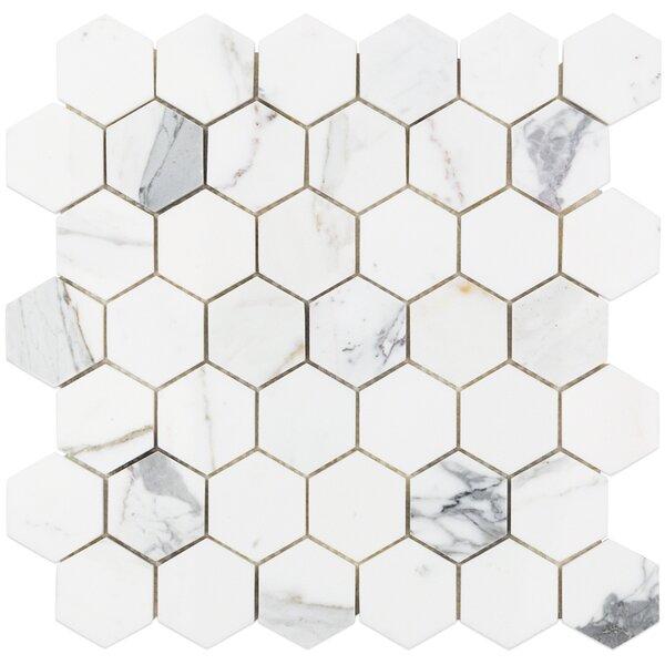 Hexagon 12 x 12 Marble Mosaic Tile in White/Gray by Splashback Tile
