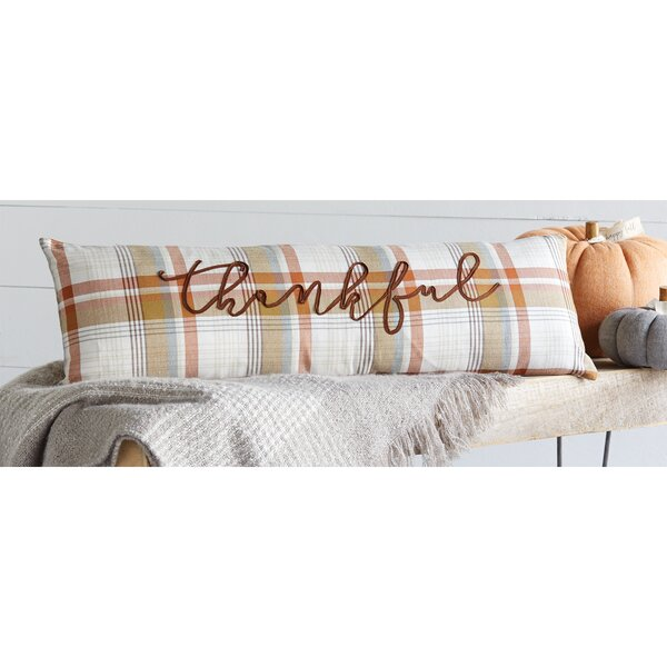 Plaid Thankful Thanksgiving Cotton Lumbar Pillow by Mud Pie™