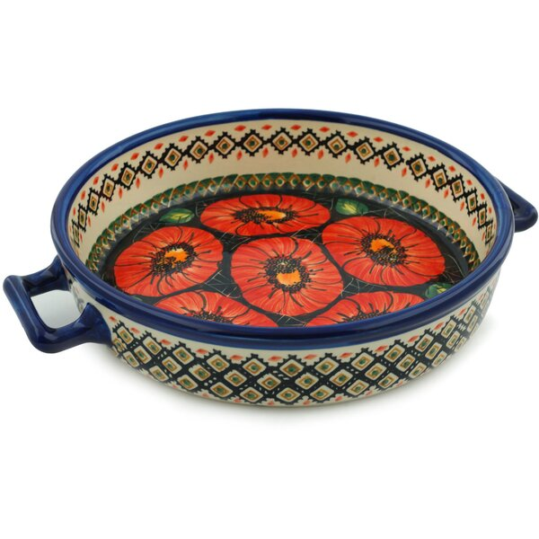 Poppy Passion Round Non-Stick Polish Pottery Baker with Handles by Polmedia
