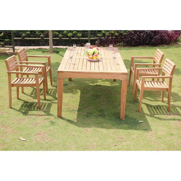 Pierre 5 Piece Teak Dining Set by Rosecliff Heights