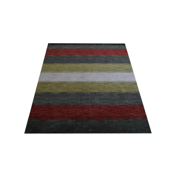 Ry Hand-Knotted Wool Gray/Red Area Rug by Latitude Run