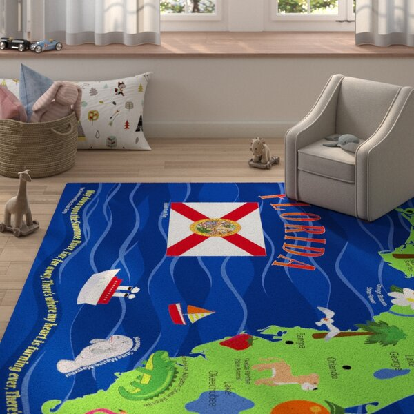 Harjo Map of Florida Blue/Green Area Rug by Zoomie Kids