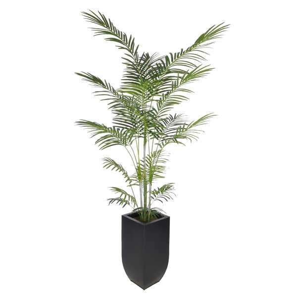 Artificial Areca Palm Tree Floor Plant in Planter by Beachcrest Home