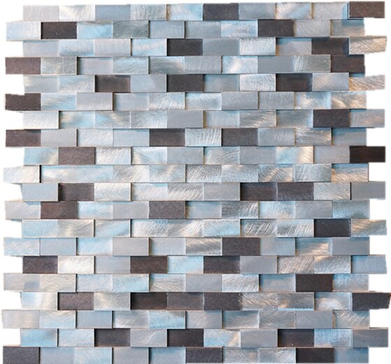 Brick Random Sized Metal Mosaic Tile in Silver/Brown by Multile