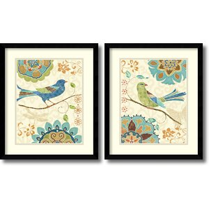 'Eastern Tales Birds' by Daphne Brissonnet 2 Piece Framed Painting Print Set by Amanti Art