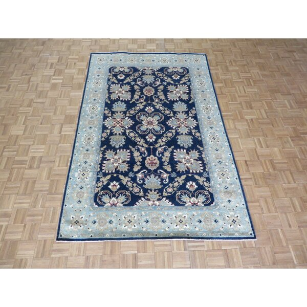 One-of-a-Kind Josephson Mahal Peshawar Hand-Knotted Wool Navy Blue Area Rug by Canora Grey