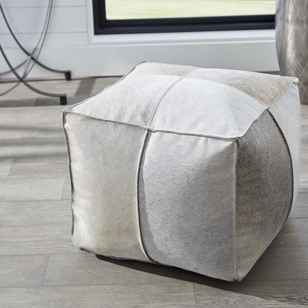 Brixton Leather Pouf By Cyan Design