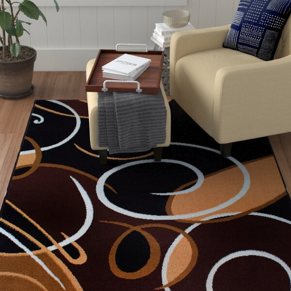 Simona Modern Swirls Black Area Rug by Winston Porter