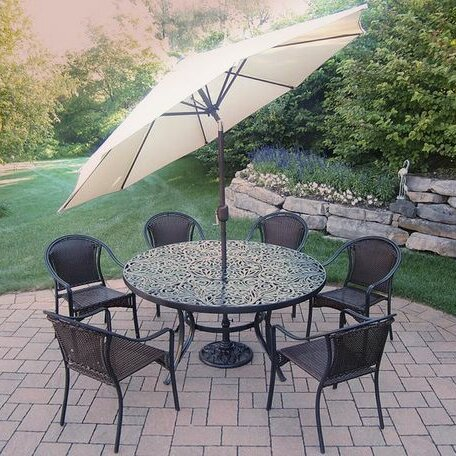 Tuscany 7 Piece Dining Set with Umbrella by Oakland Living