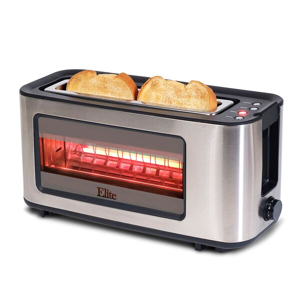 2 Slice Toaster with See Through Glass Window by Elite by Maxi-Matic