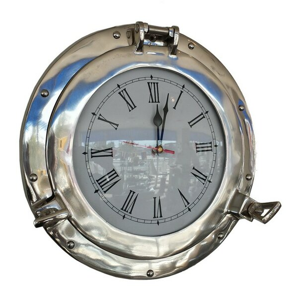 Traditional Porthole 15'' Metal Clock by Beachcrest Home